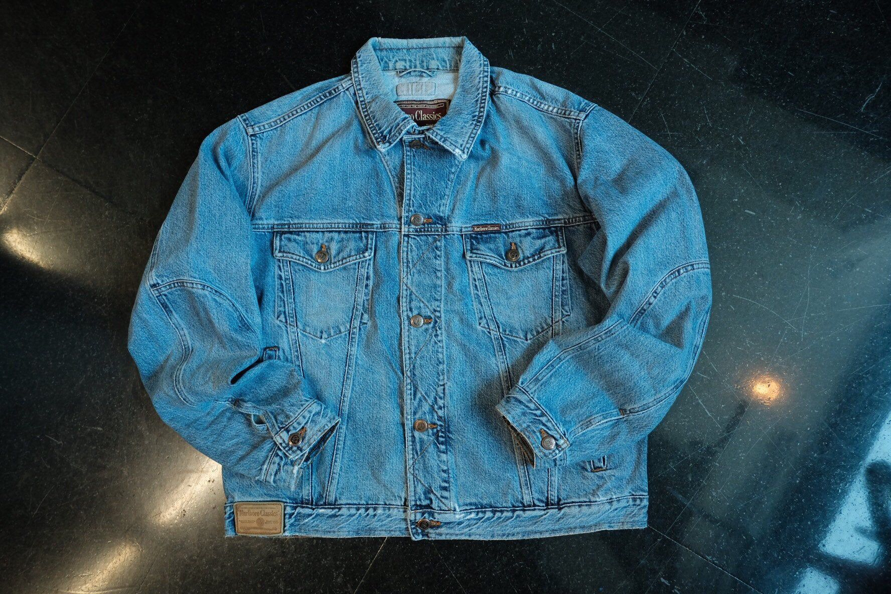 Marlboro Classics Denim Jacket 90s Vintage Workwear Size M In 2020 Denim Jacket Marlboro Classics Jackets