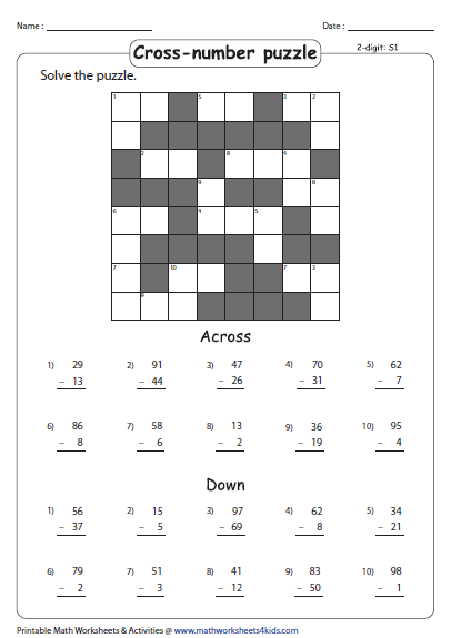 Cross Number Puzzle Math Puzzles Brain Teasers Math Logic Puzzles Math Square Puzzles