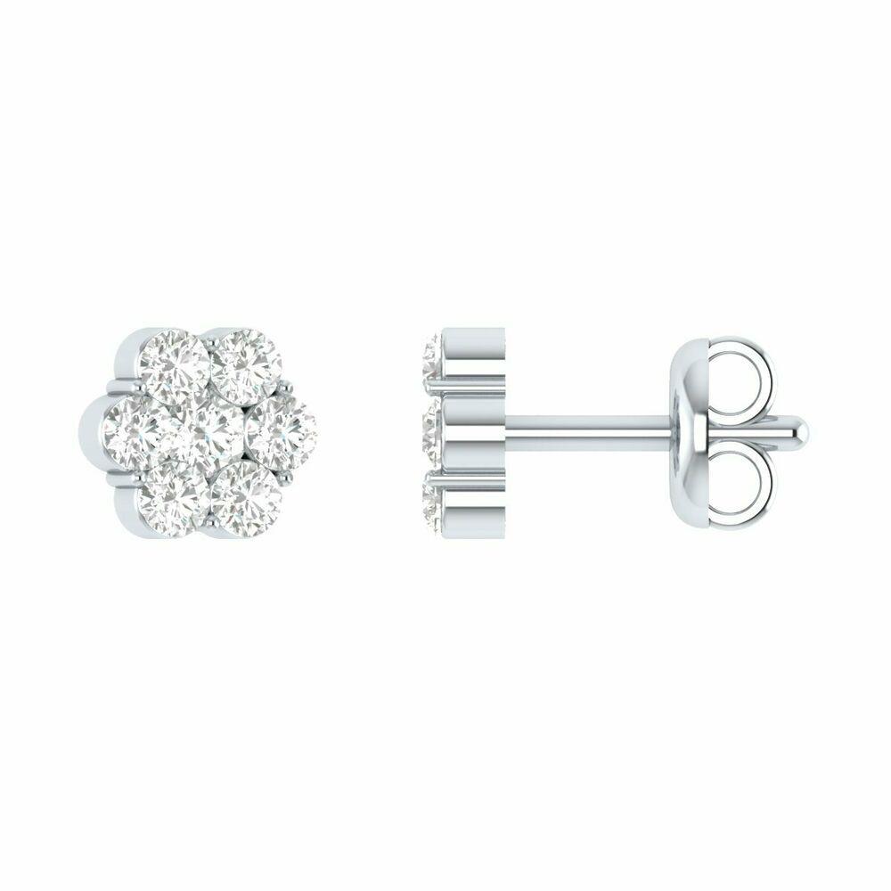 0.10CT Created Diamond Open Flower Earrings 14K Yellow Gold Designer Style Studs