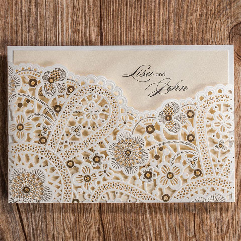 A 12pcs/lot romantic laser cut ivory Hollow Flora wedding ...