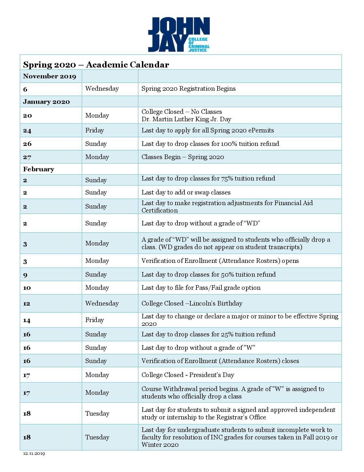 Ualbany Calendar Spring 2022.John Jay Academic Calendar Spring 2020 Https Www Youcalendars Com John Jay Academic Calendar Html Academic Calendar Academics Calendar