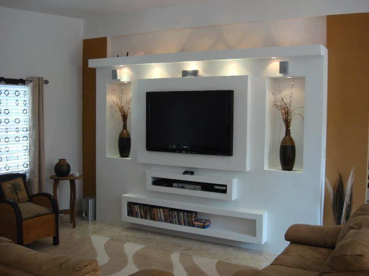 Handmade Gypsum Board Tv Units Before And After Wall Tv Unit