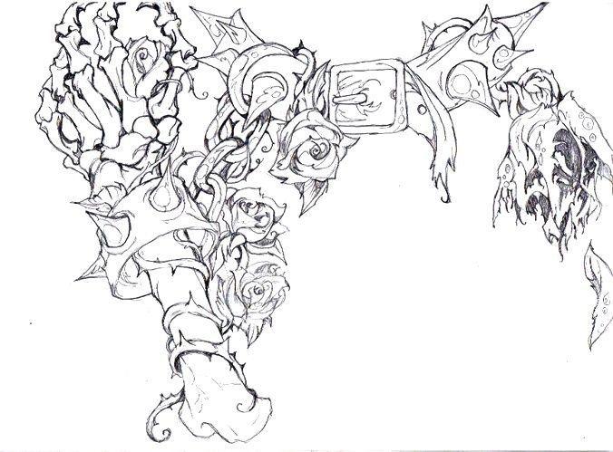 Photo of Ein ungewöhnliches Tattoo-Design mit Ketten, Rosen, Fesseln, Blut, Knochen. Ich verehre …