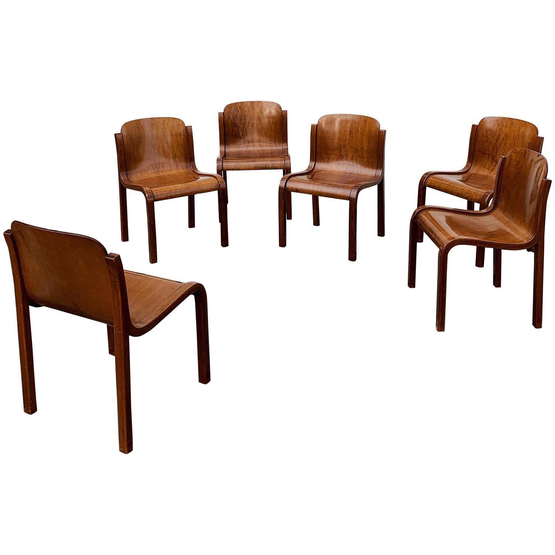 Set 6 Eetkamerstoelen.Carlo Bartoli Midcentury Plywood Dining Chairs Mito For T70