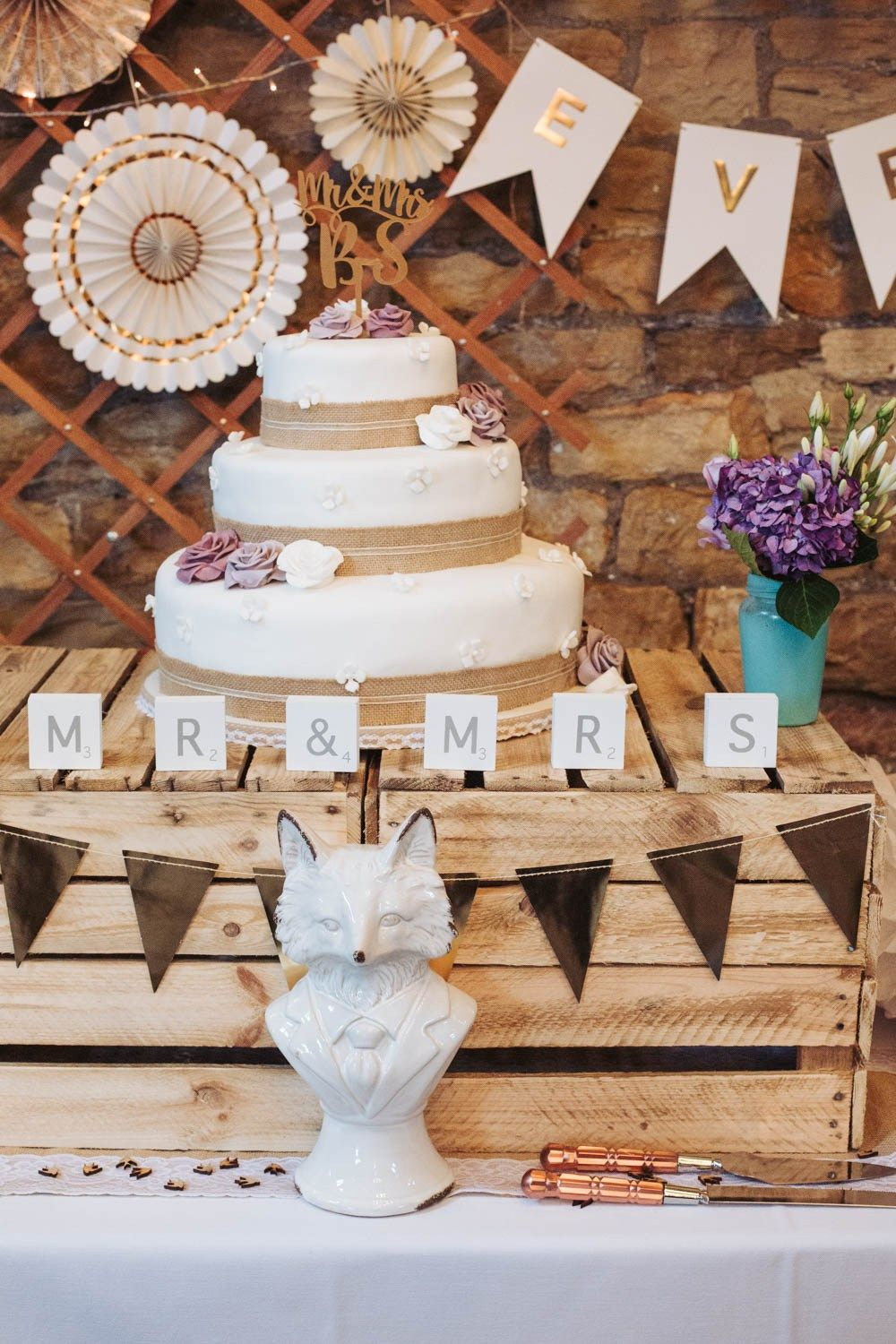 Ivory White Gold And Purple Rustic Wedding Decorations With Fox At Oakwell Hall