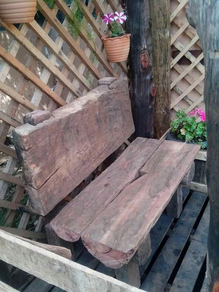 Banco de jardim, madeira de demolição / rústico