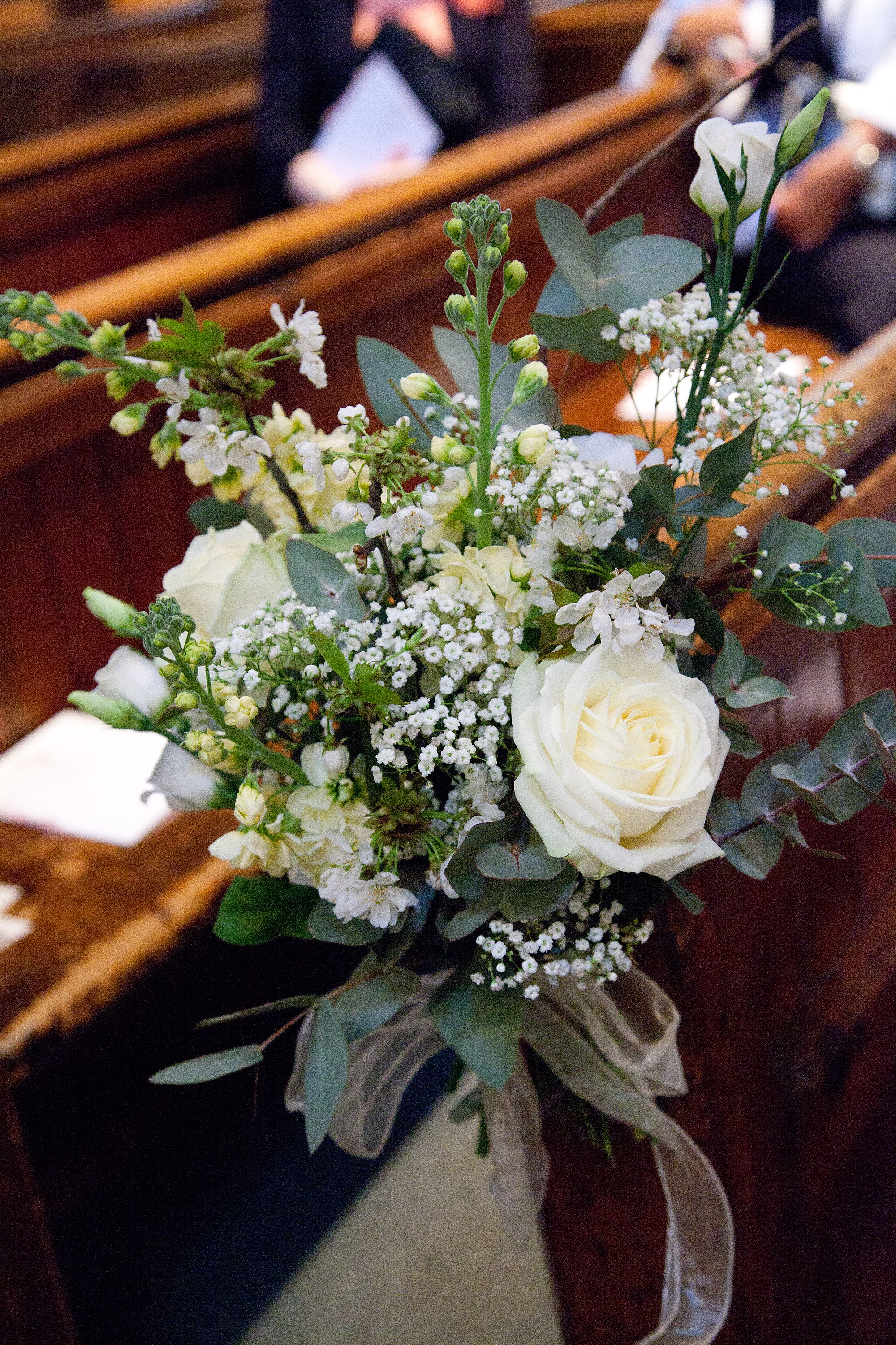 White and green Pew Ends Church wedding flowers, Wedding