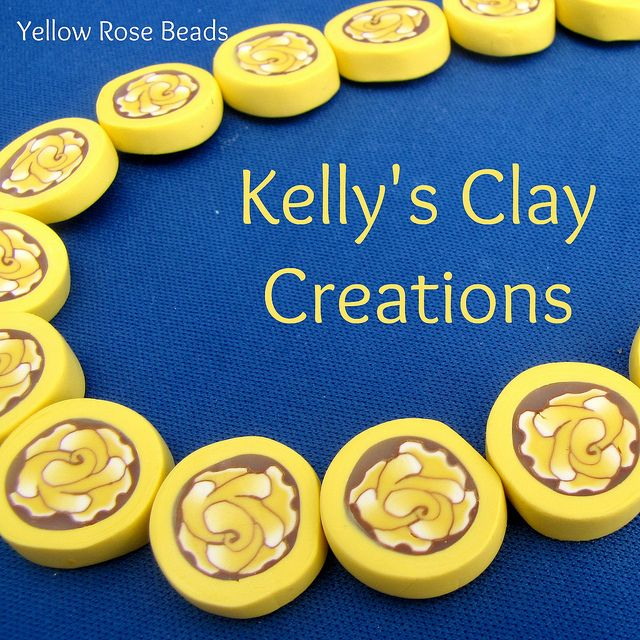 Yellow rose polymer clay beads