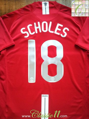 55a76ca3715 Relive Paul Scholes  2007 2008 Champions League with this vintage Nike Man  Utd home football shirt.