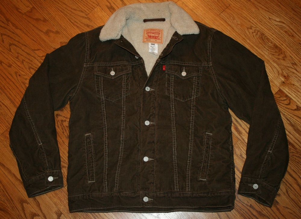 Levi Strauss levi's brown corduroy sherpa fleece Jacket Youth XL ...
