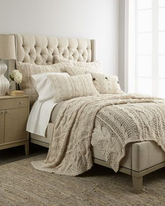 Want A Headboard Like This With Slightly Deeper Wings.Amity Home Micah  Cable Knit Bed Linens   Horchow