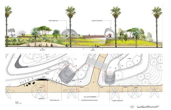 Plan And Section Tongva Park Santa Monica By Fo Landscape Architecture Design Landscape Architecture Drawing Plan Sketch