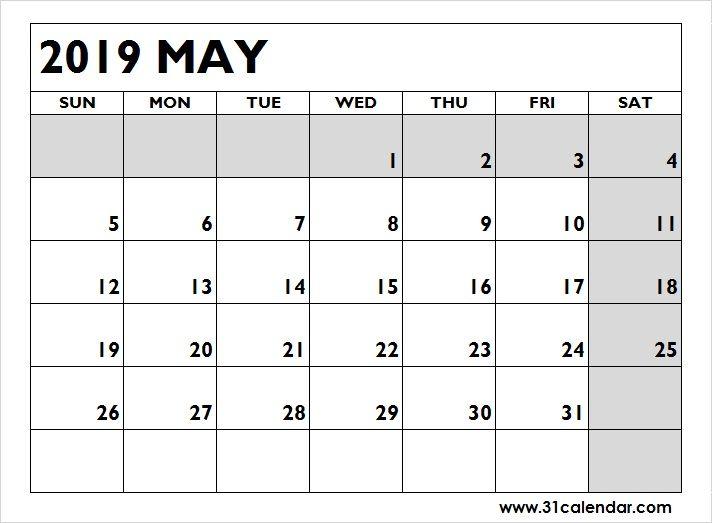 Blank Printable Calendar 2019 May Editable 31 Calendar Pinterest