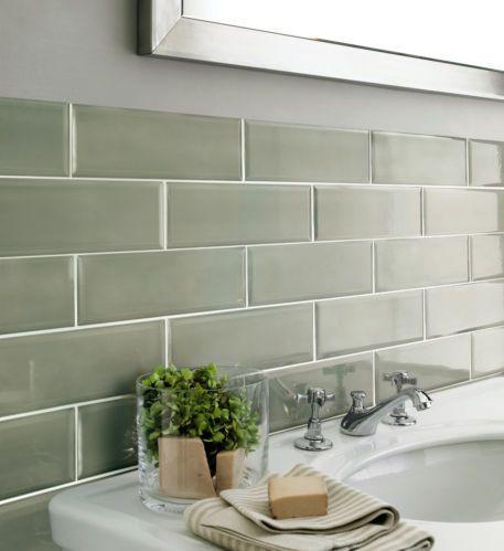 Edgar Brick Effect Metro Ceramic Green Gloss Bevelled Edge Wall