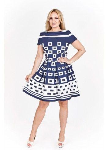 069dc1e936 Sukienka koktajlowa w geometryczny wzór Kolor Granatowy Rozmiar 44 ...
