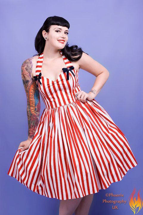 Candy Stripe Nautical 1950's style dress  (Adorable!)