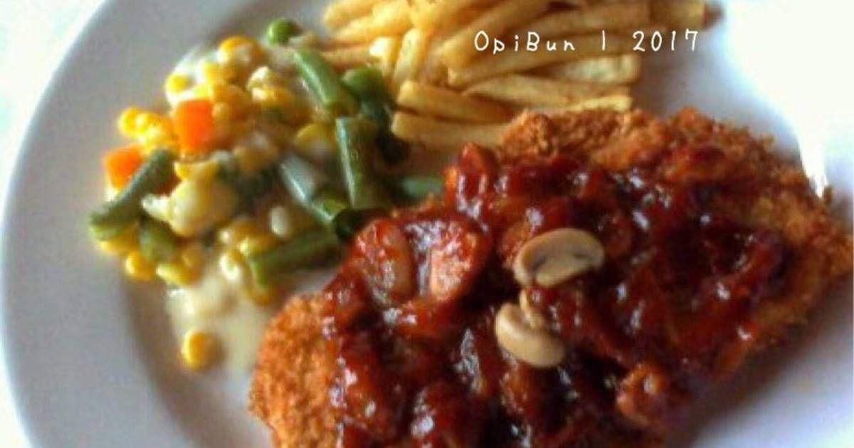 Resep Steak Ayam Crispy Saus Bbq Oleh Opibun Resep Resep Steak Saus Bbq Makanan