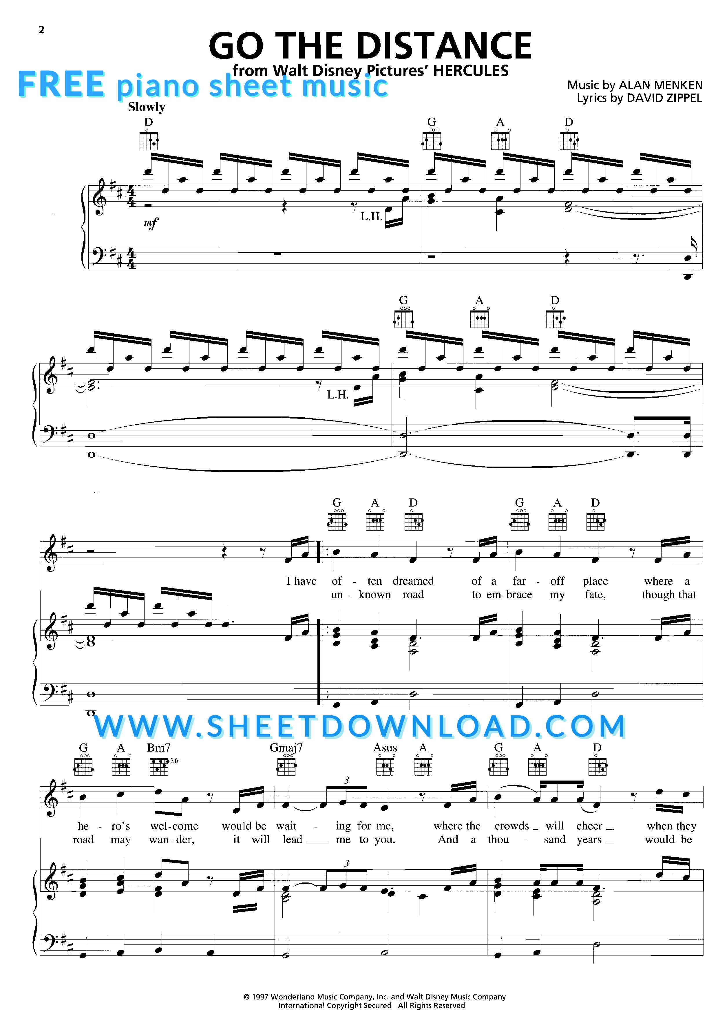 View Download And Print Go The Distance Piano Sheet Music From