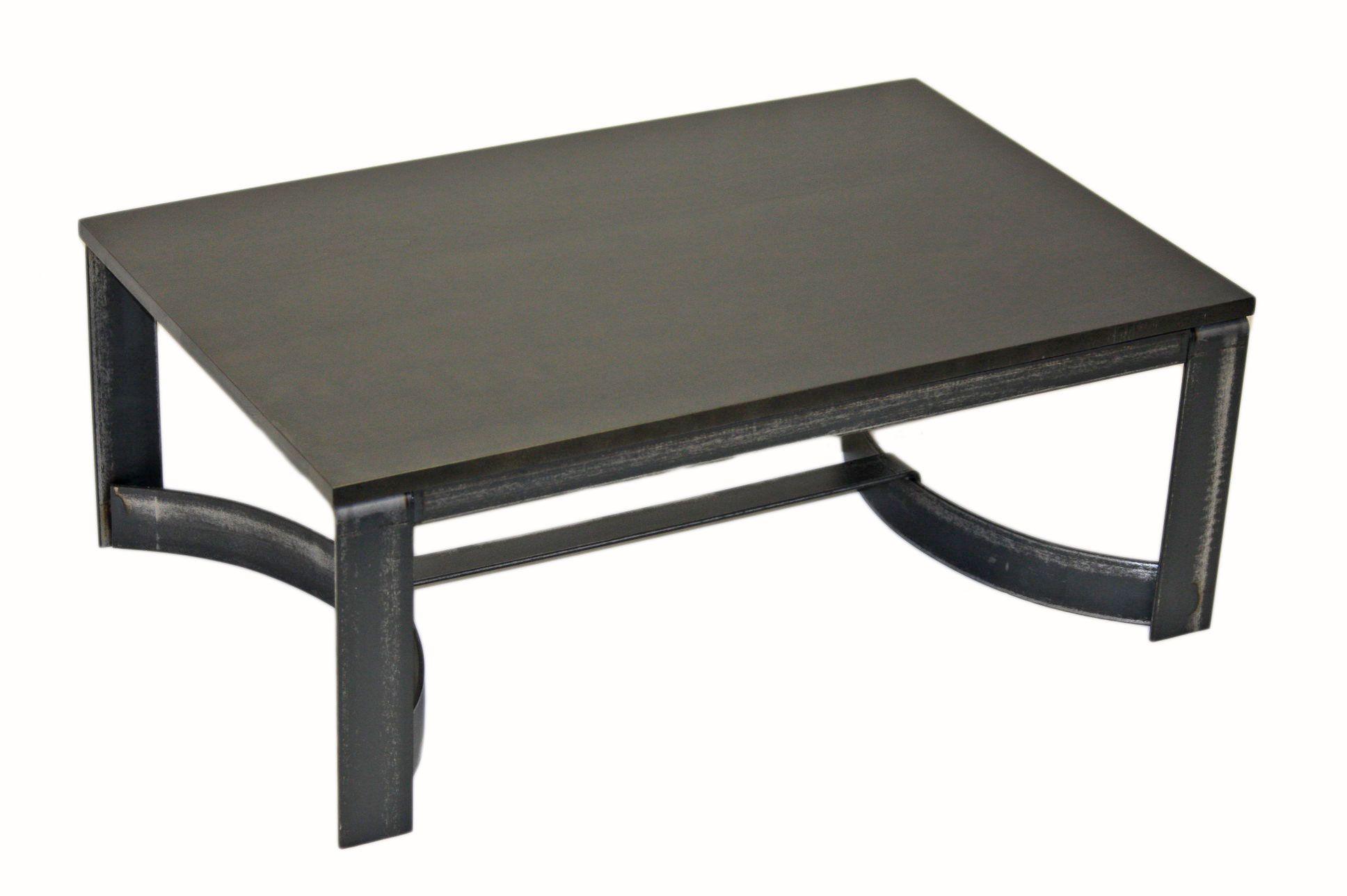 Table De Centre En Merisier Table Living Room Acier Steel  # Meuble Living Bois