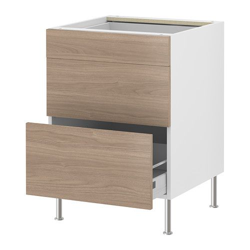 FAKTUM Base cabinet with 3 drawers - Sofielund light grey, 60 cm ...