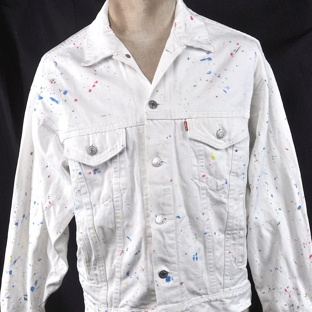 b7fbe8dd68 Levis Paint Splattered Vintage White Denim M Trucker Jean Jacket Medium  Mens USA  Levis  JeanJacket