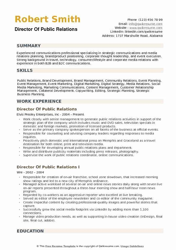 public relations resume examples lovely director of public