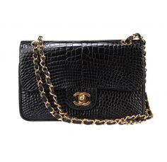 Vintage Chanel Black Alligator 2.55 Double Flap Bag