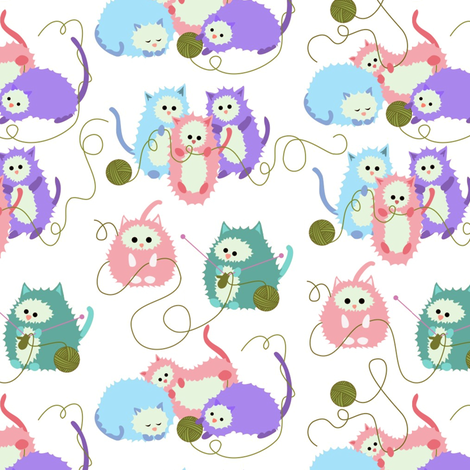 Colorful Fabrics Digitally Printed By Spoonflower Three Little Kittens Who Lost Their Mittens Cat Fabric Digital Print Fabric Fabric
