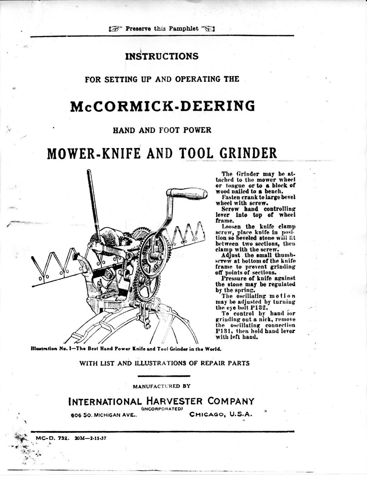 Mccormick Deering Mower Knife And Tool Grinder