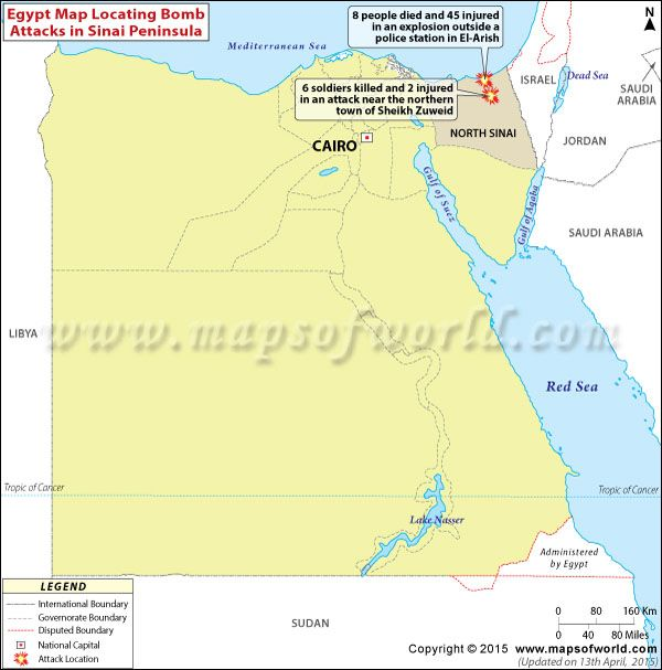 Bomb attacks rock Egypt\'s Sinai Peninsula, 14 killed. Map ...