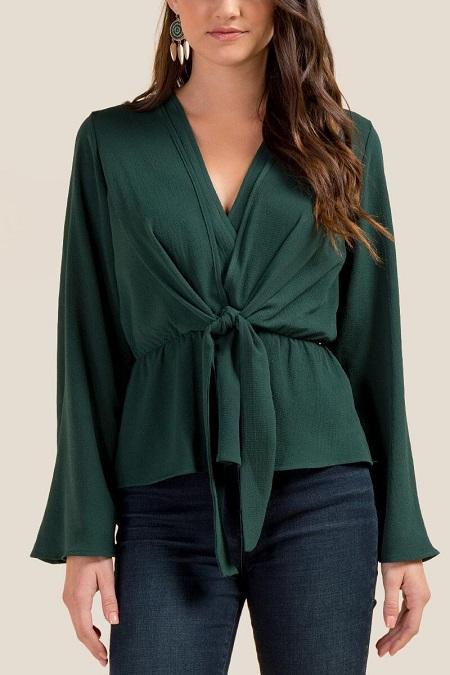 New Spring Elegant Women Bell Long Sleeve Ruffle Beaded Chiffon Shirt Blouse Top