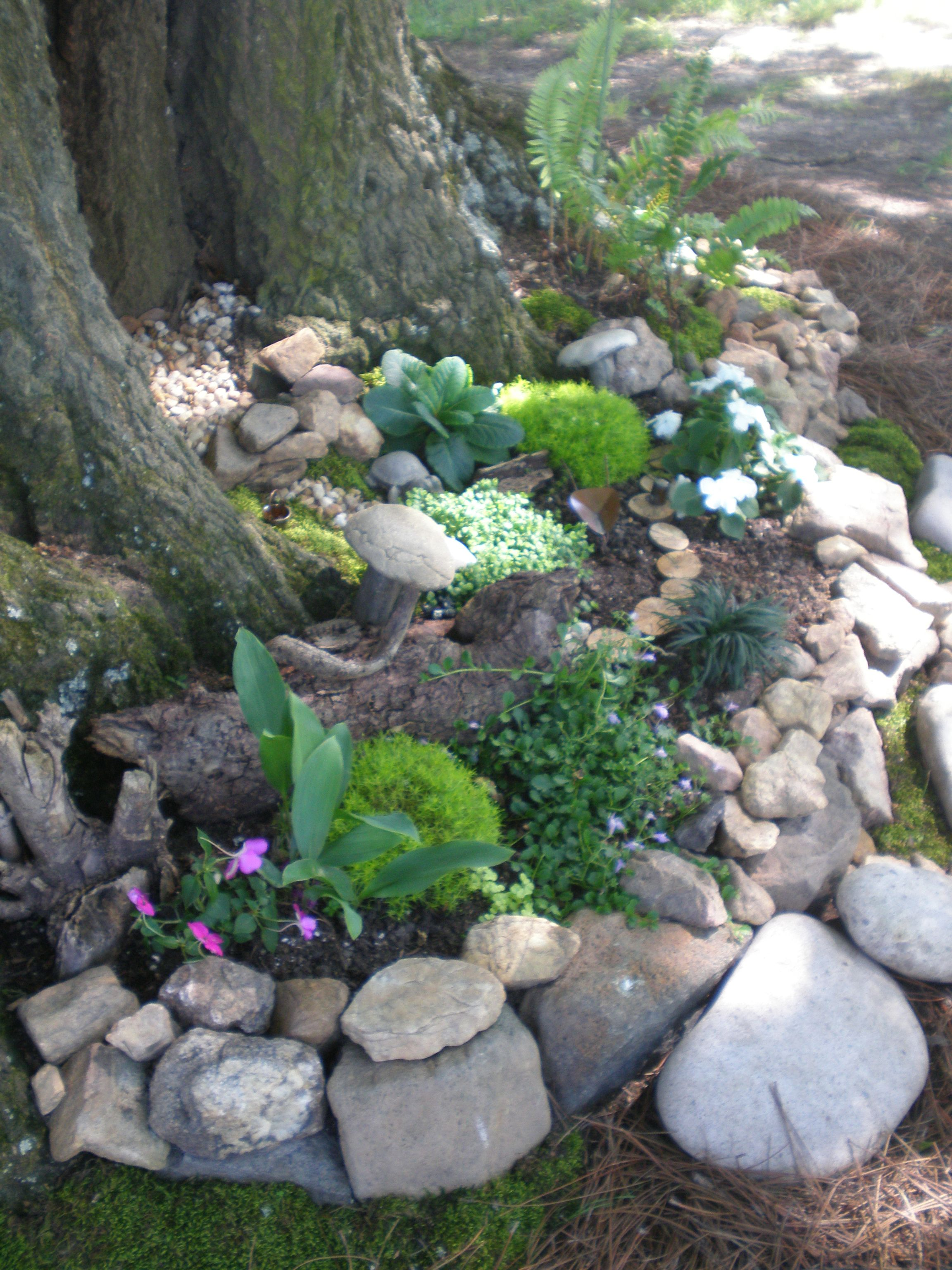 fairy garden under backyard tree - Garden Ideas Under Trees