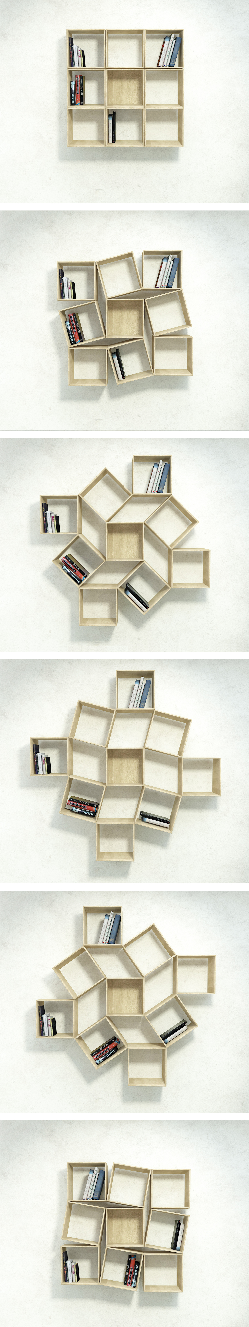 amazing rotatable bookcase: squaring paln