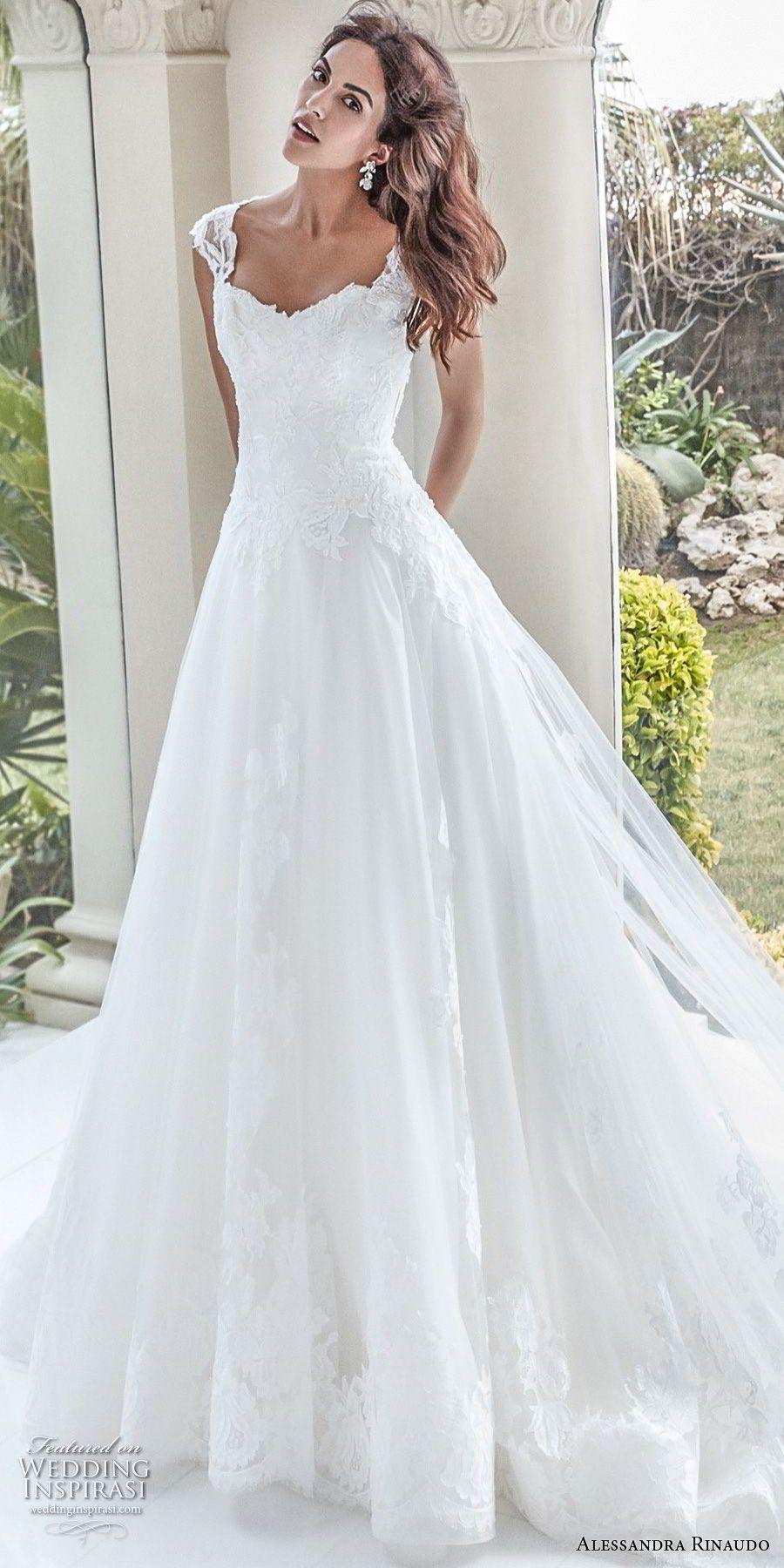Lace wedding dress with cap sleeves sweetheart neckline  alessandra rinaudo  bridal cap sleeves sweetheart neckline