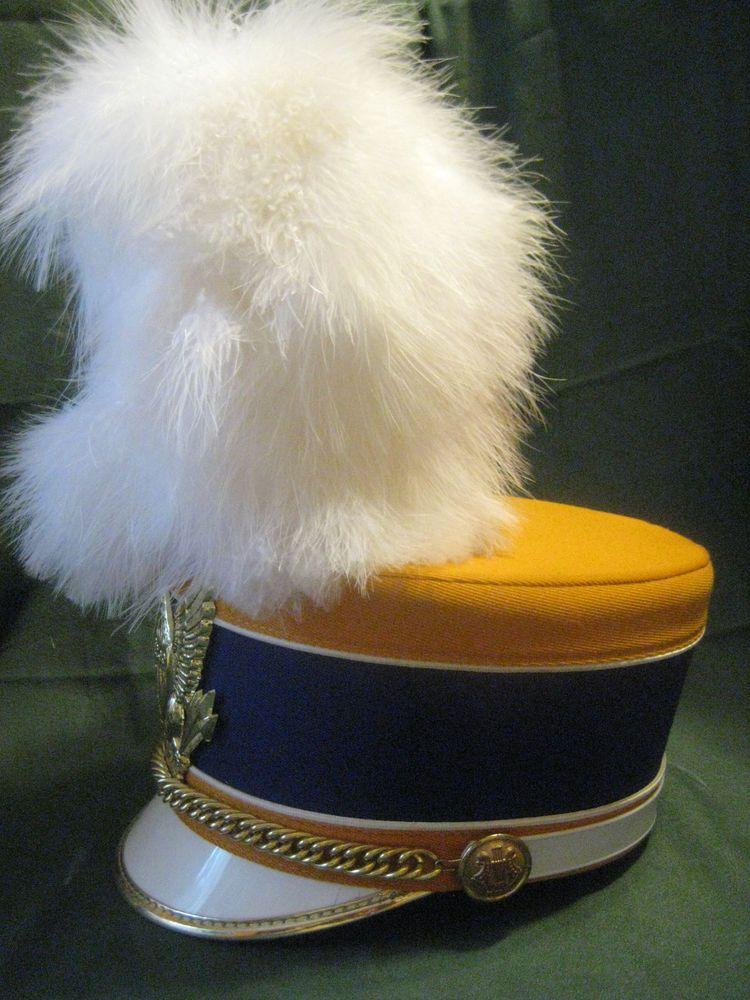 Vtg Marching BAND LEADER HAT Uniform Drum Major Blue Gold Plume Eagle Costume