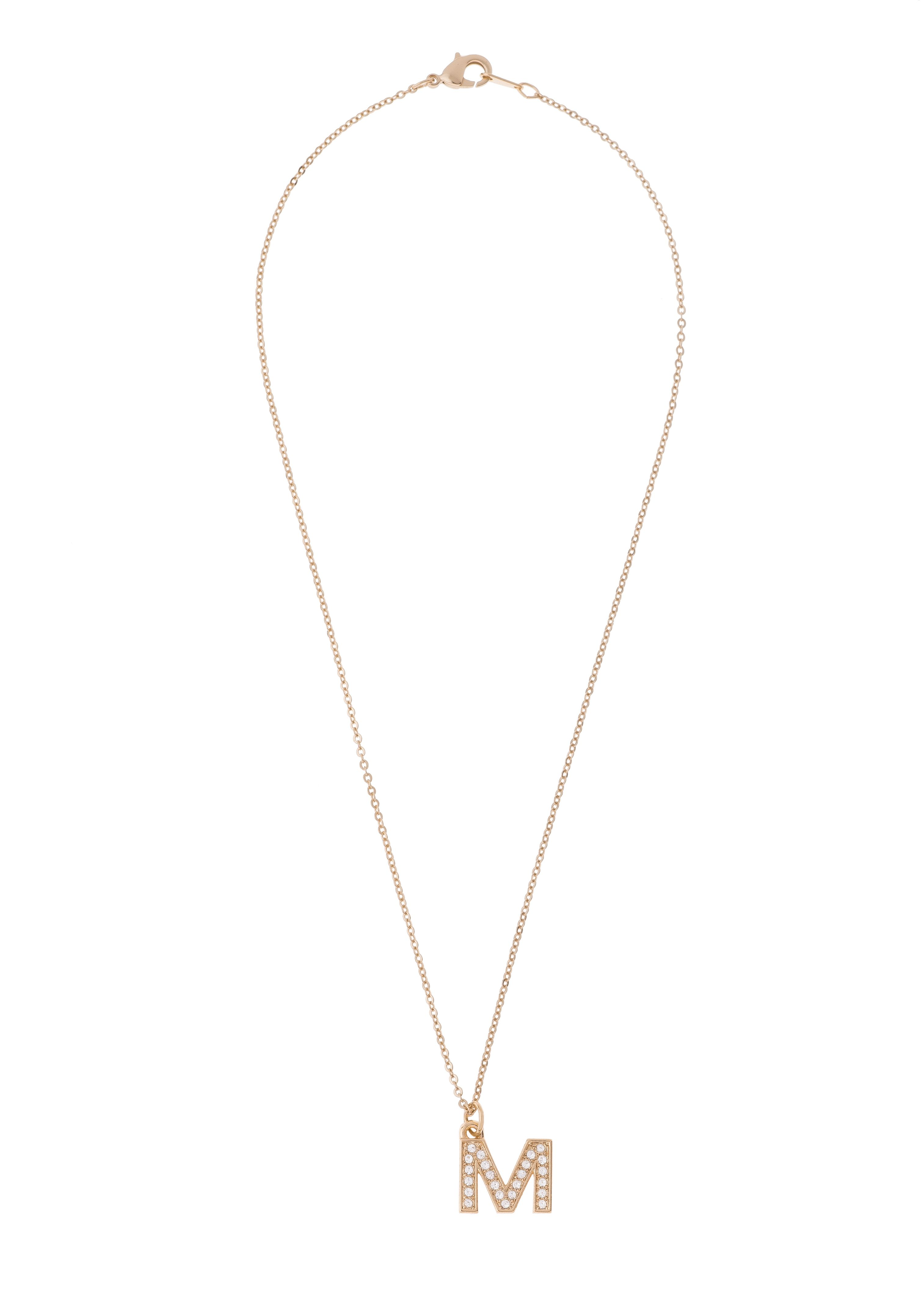 Collar 118881-M  -Dije con cadena de 42 cm de largo con baño de oro y piedras de cristal.
