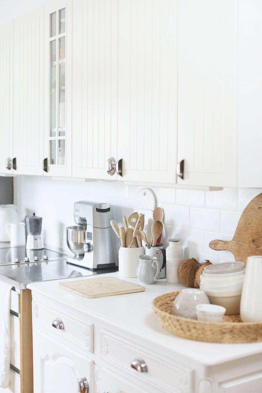 White kitchen subway tiles beach cottage style simply white