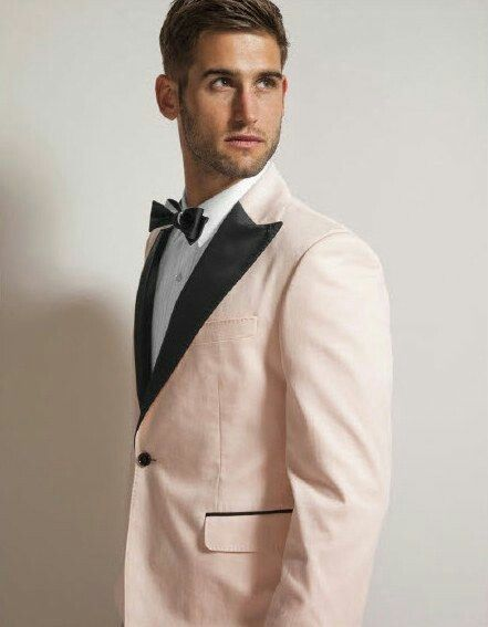 43a4c40cb0f4 Baby pink and black tux for the groom | All About The Wedding in ...