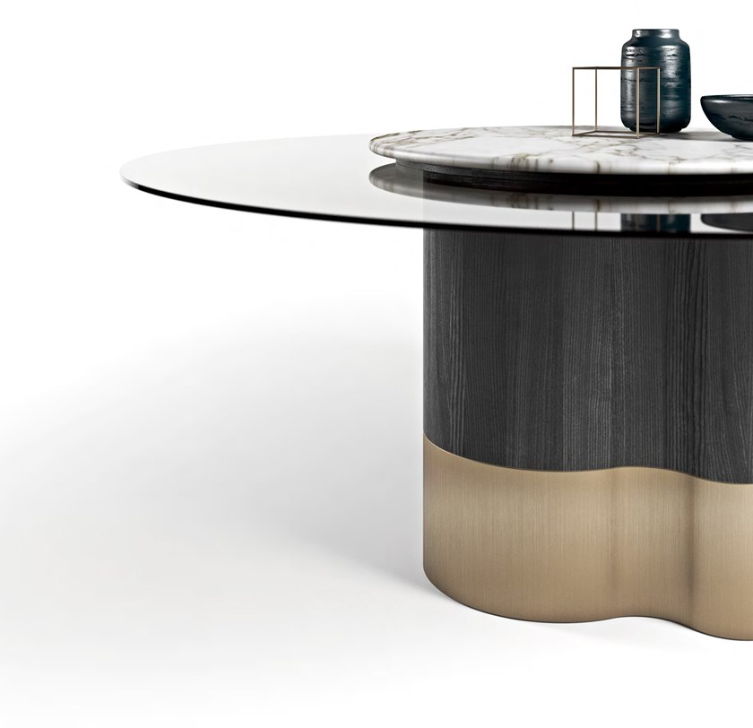 Wood And Glass Table With Lazy Susan Marygold By Formitalia With