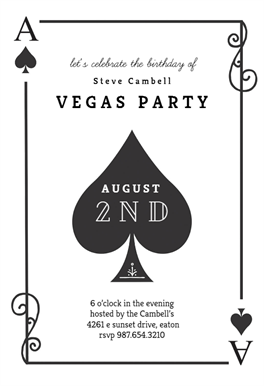 Ace Of Spades Printable Invitation Template Customize Add Text And Photos Print Send Online Or Order Printed Invitations Diy