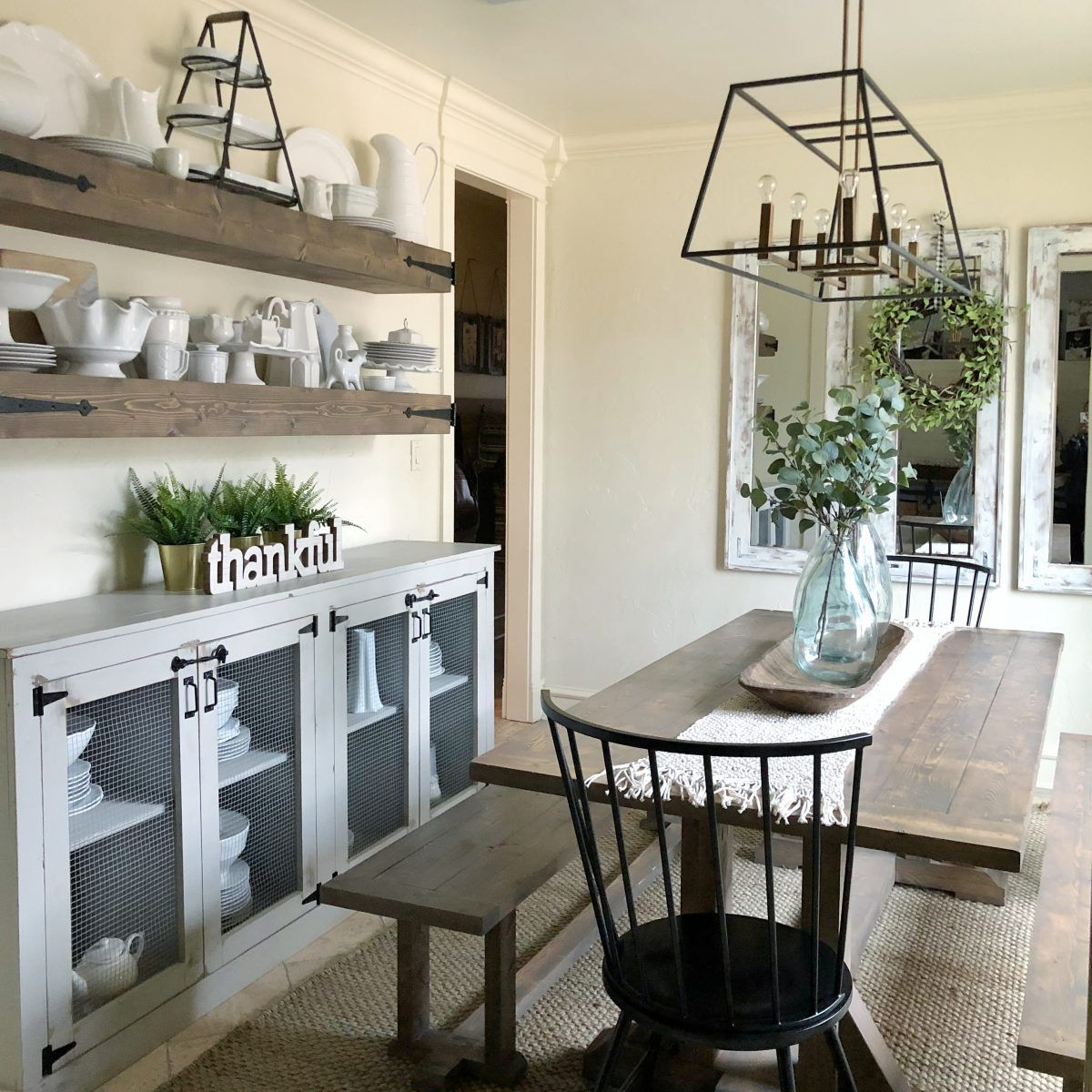 Instagram Links Farmhouse dining benches, Sideboard