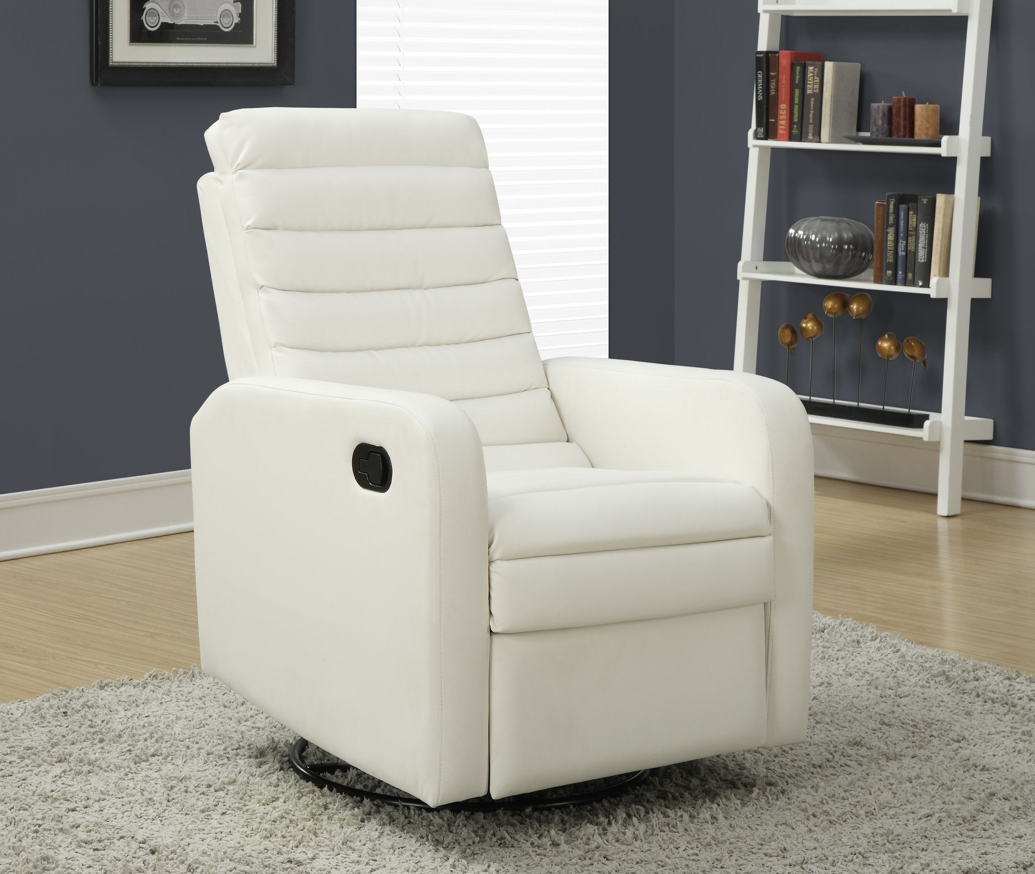 Recliner  Swivel Glider White Bonded Leather Fabric Harvey &