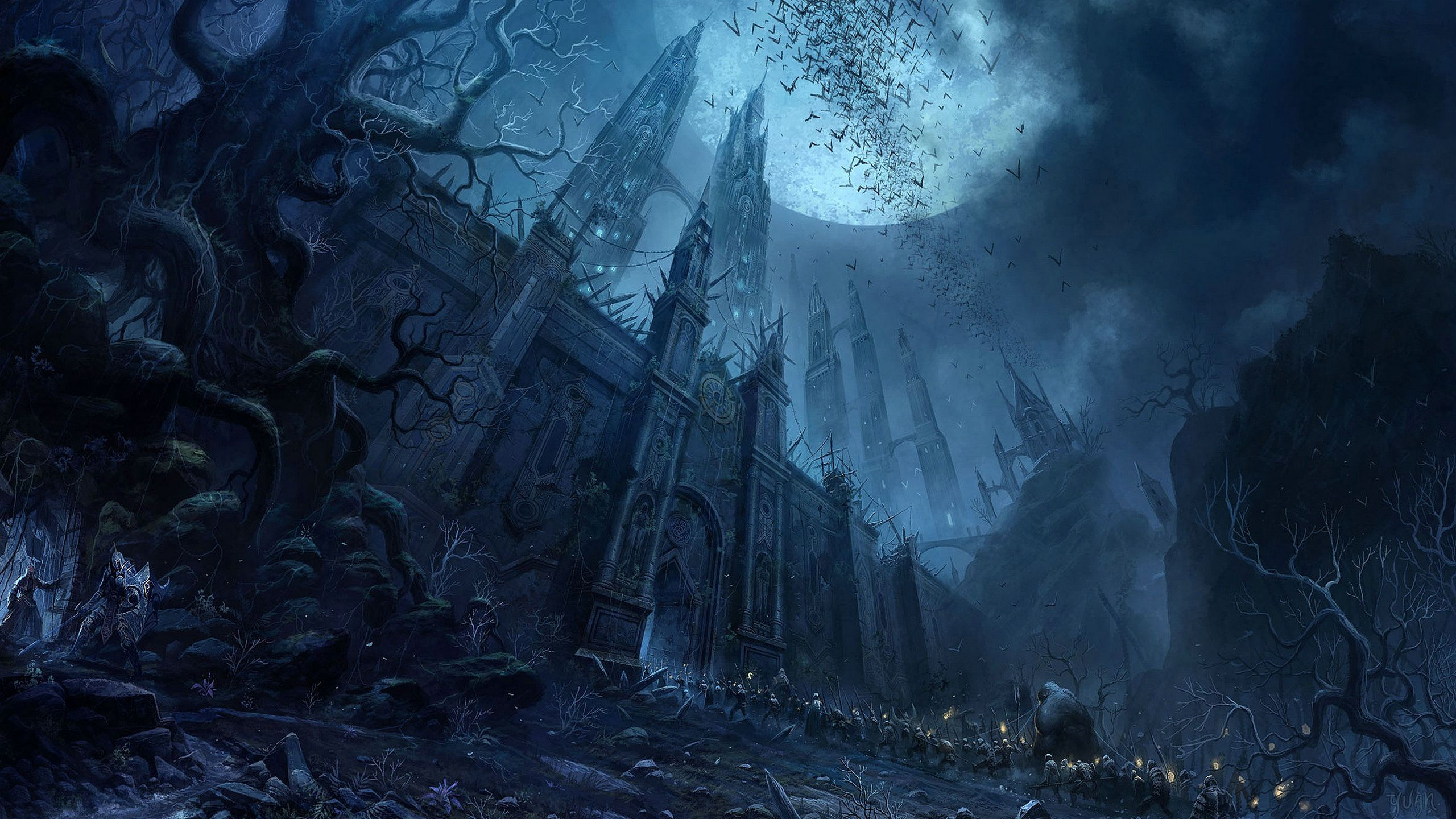 Dark Moon Fantasy 2560x1440 Hd Wallpaper And Free Stock Photo Fantasy Art Landscapes Dark Fantasy Art Dark Moon