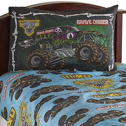 3pc Monster Jam Twin Bed Sheet Set Grave Digger Monster Truck Bedding Accessories
