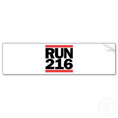 Run 216 cleveland ohio dmc logo bumper sticker