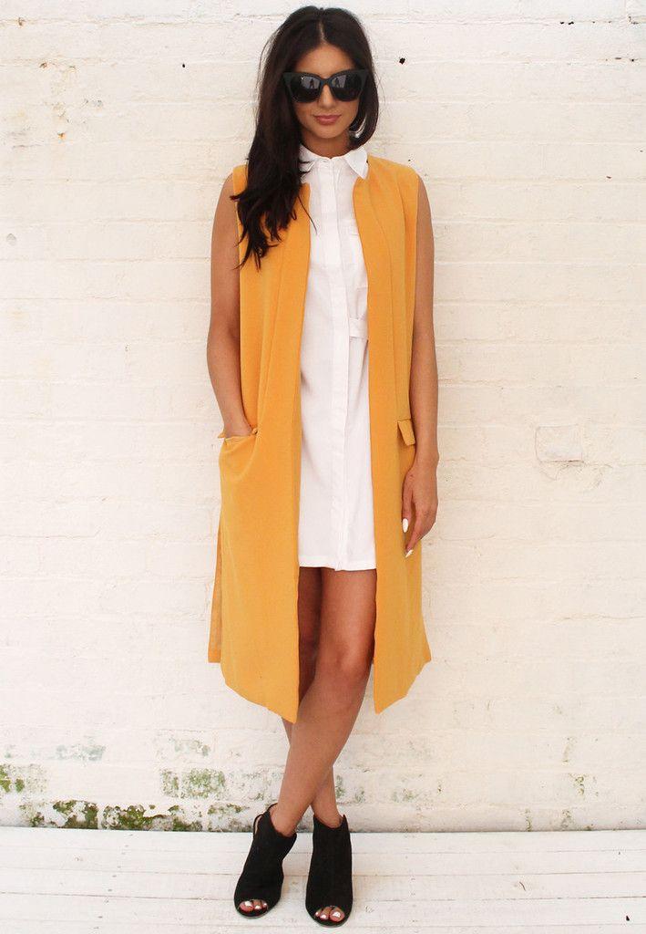a834f6c11 Premium Longline Collarless Sleeveless Duster Jacket in Mustard Sleeveless  Duster, Duster Jacket, Long A