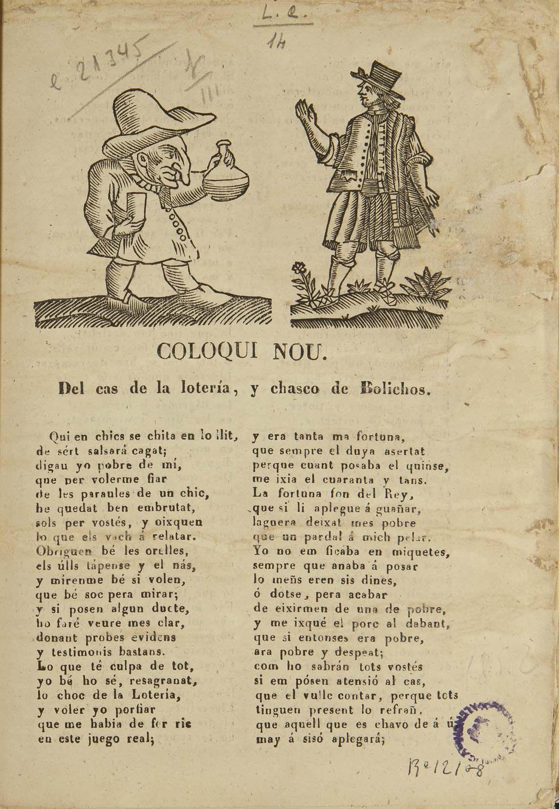 """""""Coloqui nou: Del cas de la loteria, y chasco de Bolichos"""". Imprenta y llibreria de Blay Bellver, 1852"""