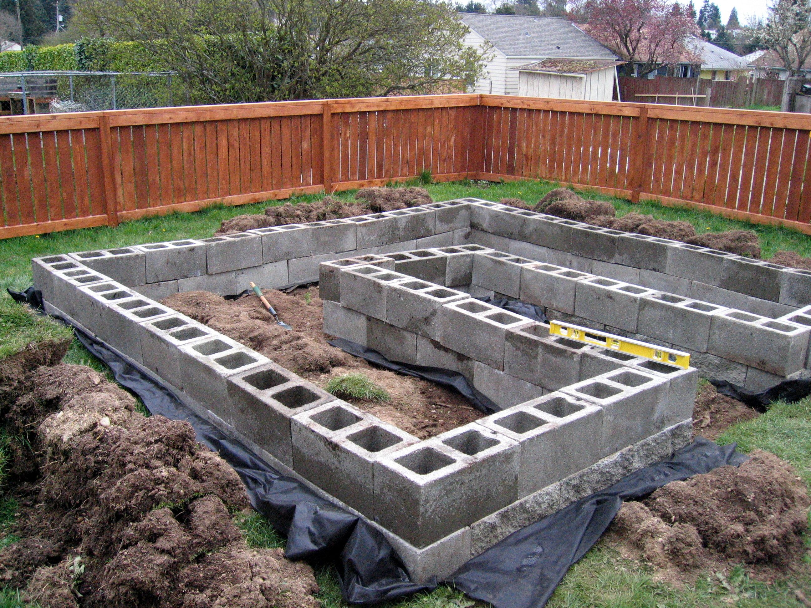 Cement block garden. I like the