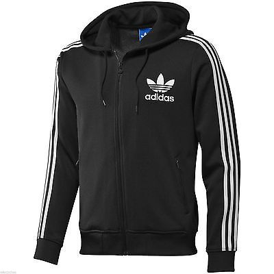 Adidas Originals Adi Hooded Zip Jacket Mens Black White Flock Hoodie  Authentic in Clothes, Shoes
