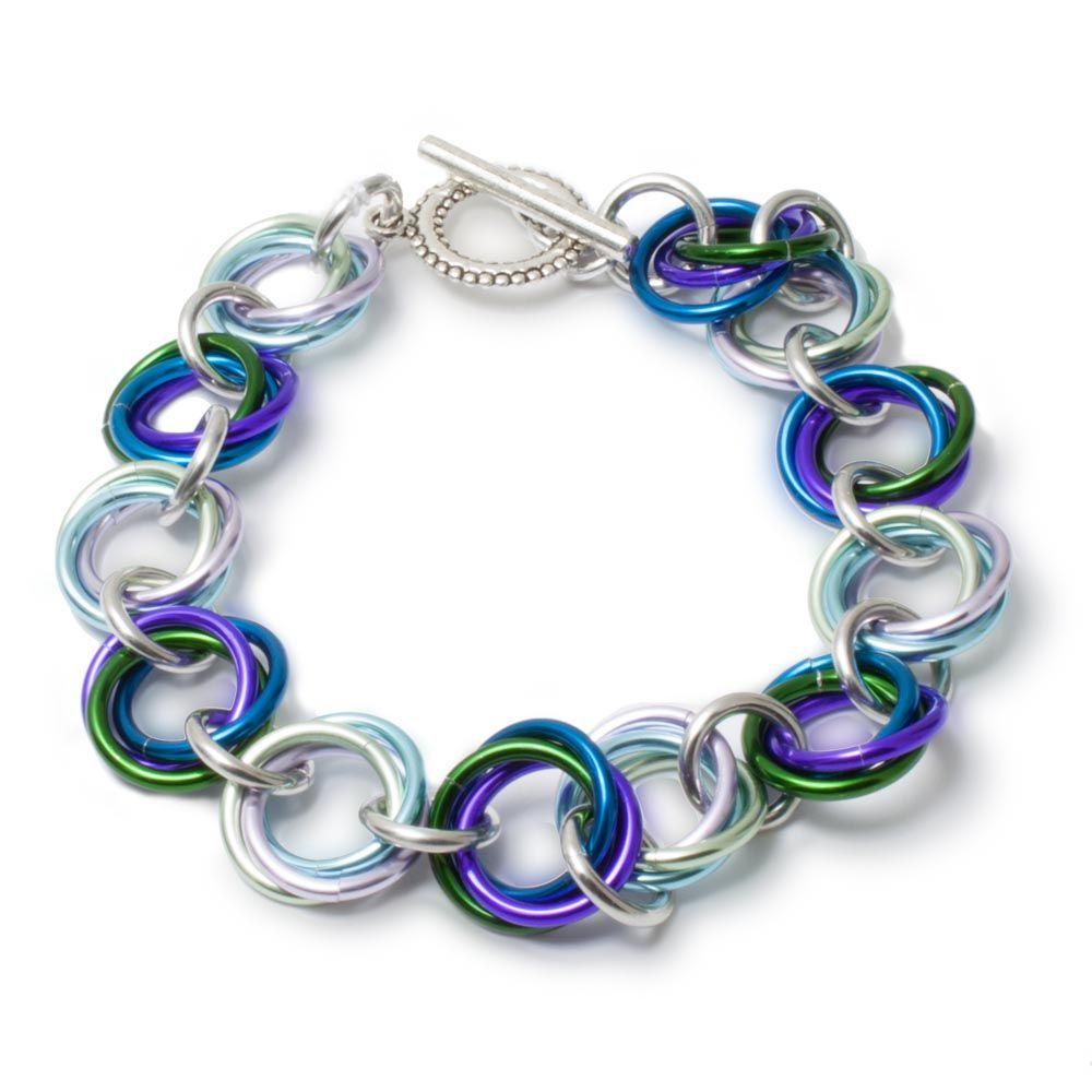 Purple Iris Beaded Lattice Bracelet in Bright Aluminum